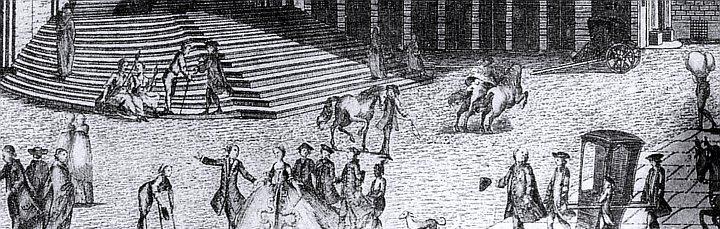 Piazza della Nunziata, dettaglio di una stampa settecentesca