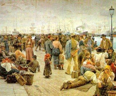 """Angiolo Tommasi: """"Gli Emigranti"""", 1895 (emigranti di regioni diverse a Genova)"""