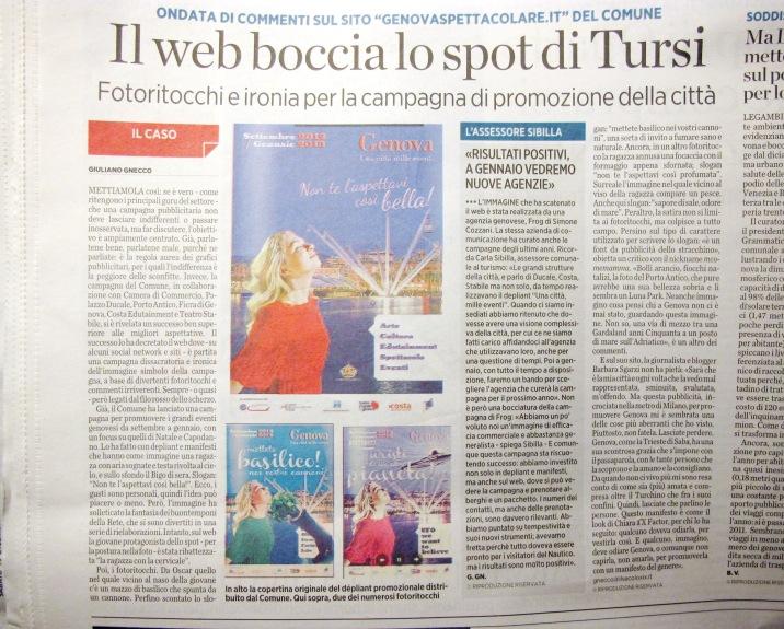 """""""Il Secolo XIX"""": Il web boccia lo spot di Tursi"""