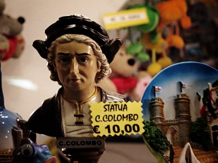 Statua-busto di Colombo triste