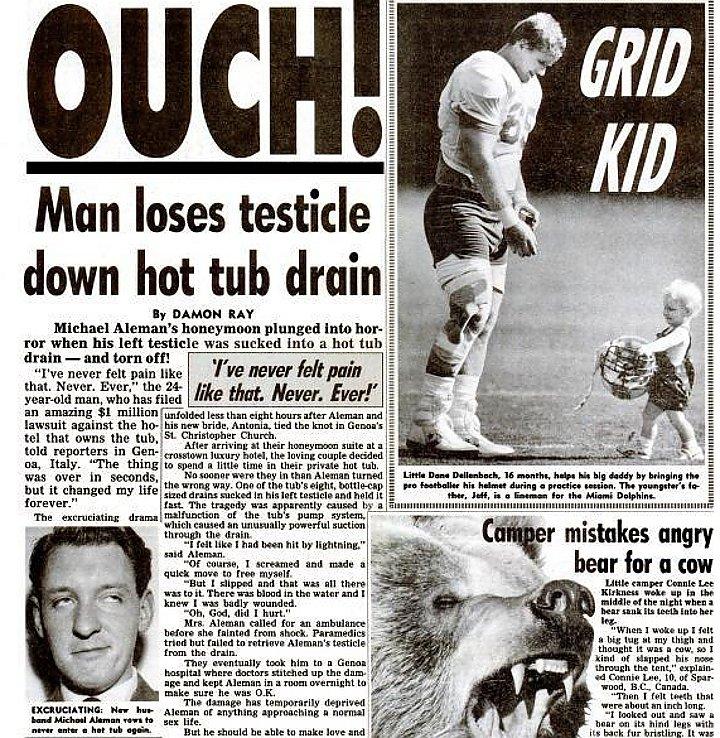 Uomo perde testicolo nello scarico della vasca da bagno