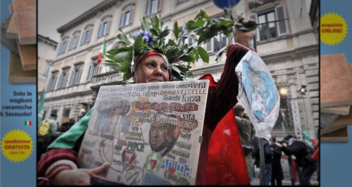 Da Repubblica  - Roma, Melina Riccio manifesta a favore del Cavaliere