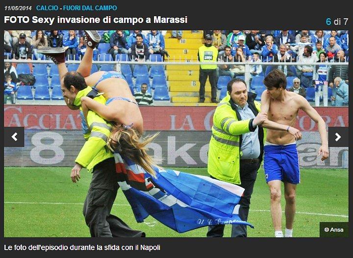 Corriere dello Sport - Nudi alla meta con l'invasione di campo in bikini