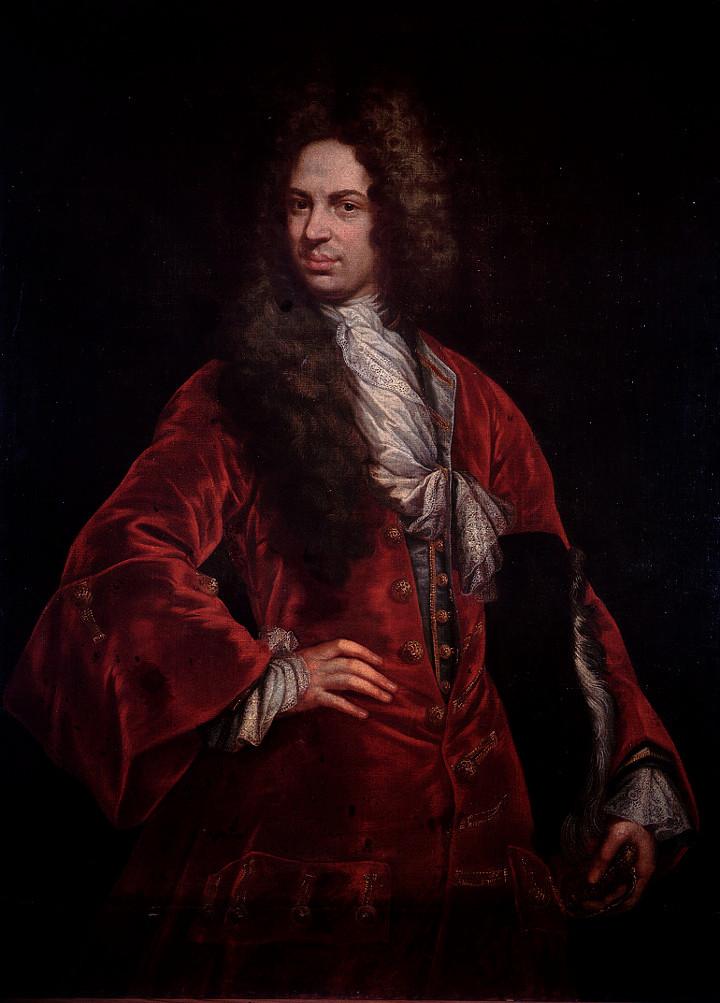 Gio Maria Dellepiane, detto il Mulinaretto (1660 - 1745) Gentiluomo in rosso (Marco Doria). Olio su tela, cm. 132 x 97. Legato E. L. Peirano (1926) - PB 1970