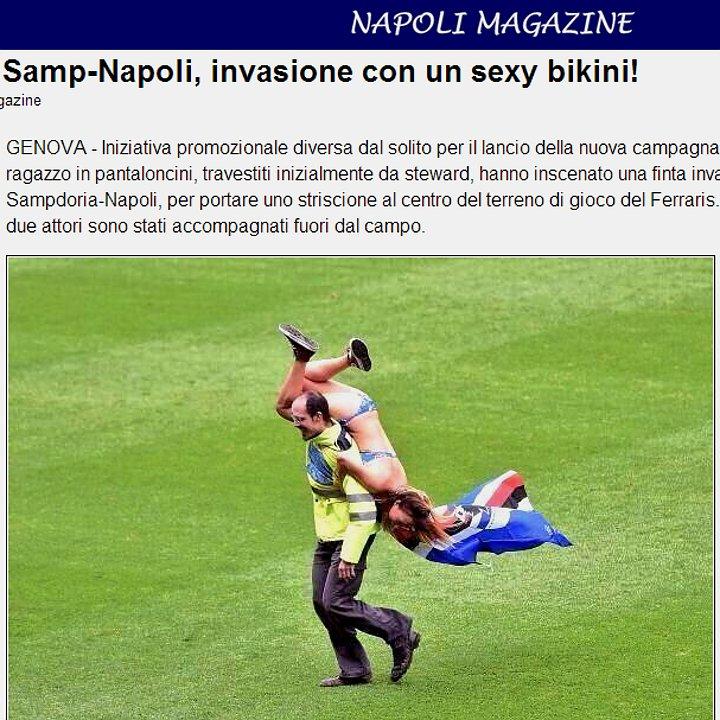 Napoli Magazine - Nudi alla meta con l'invasione di campo in bikini
