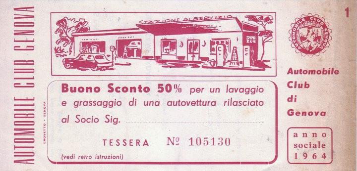 ACI, sconto lavaggio e grassaggio, fronte (1964)