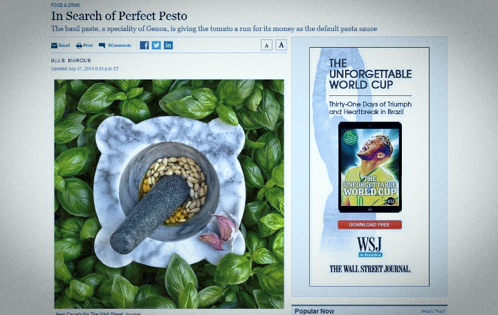 Il Wall Street Journal in cerca del pesto perfetto