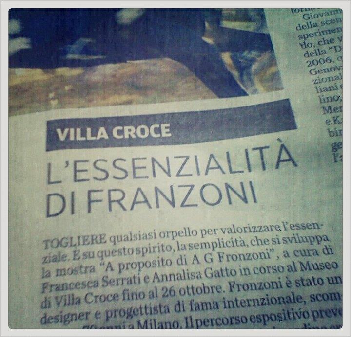 A G Fronzoni a Villa Croce come Cogne sul Secolo XIX